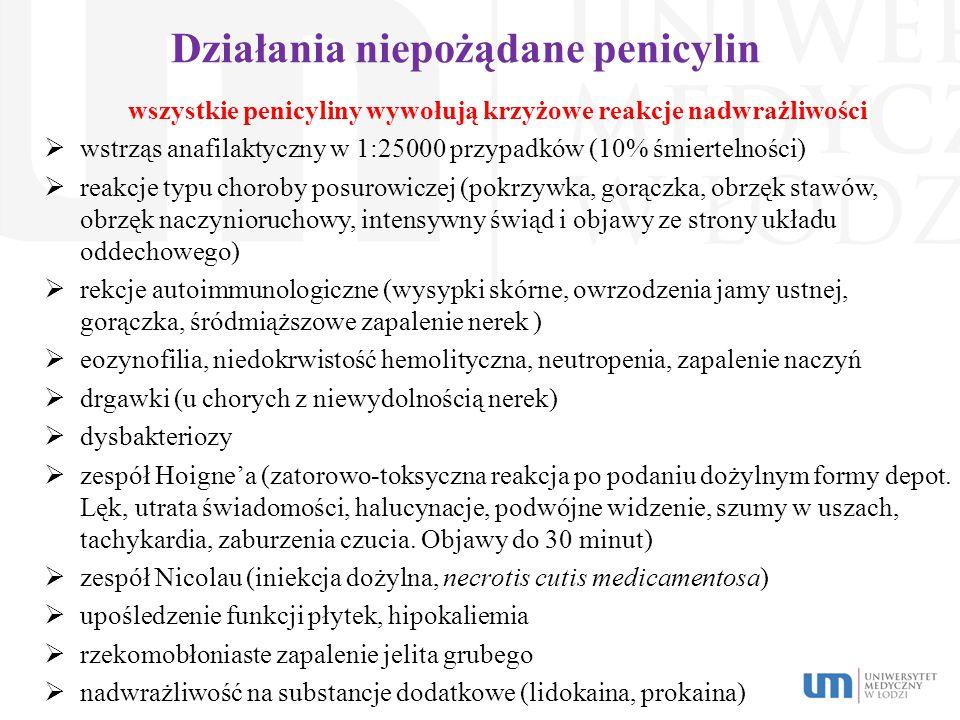 Działania niepożądane penicylin wszystkie penicyliny wywołują krzyżowe reakcje nadwrażliwości  wstrząs anafilaktyczny w 1:25000 przypadków (10% śmier