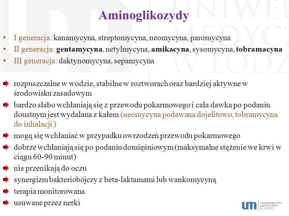 Aminoglikozydy I generacja: kanamycyna, streptomycyna, neomycyna, paromycyna II generacja: gentamycyna, netylmycyna, amikacyna, sysomycyna, tobramacyn