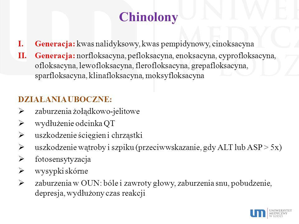 Chinolony I.Generacja: kwas nalidyksowy, kwas pempidynowy, cinoksacyna II.Generacja: norfloksacyna, pefloksacyna, enoksacyna, cyprofloksacyna, ofloksa