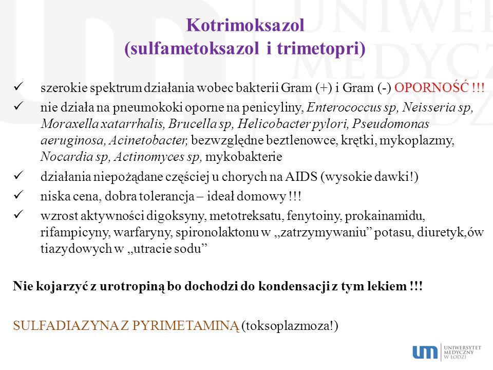 Kotrimoksazol (sulfametoksazol i trimetopri) szerokie spektrum działania wobec bakterii Gram (+) i Gram (-) OPORNOŚĆ !!! nie działa na pneumokoki opor