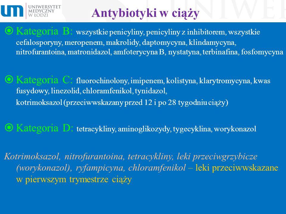 Antybiotyki w ciąży  Kategoria B: wszystkie penicyliny, penicyliny z inhibitorem, wszystkie cefalosporyny, meropenem, makrolidy, daptomycyna, klindam