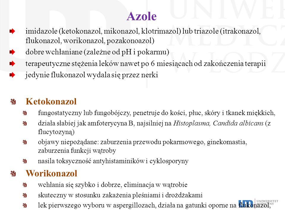 Azole imidazole (ketokonazol, mikonazol, klotrimazol) lub triazole (itrakonazol, flukonazol, worikonazol, pozakonoazol) dobre wchłaniane (zależne od p