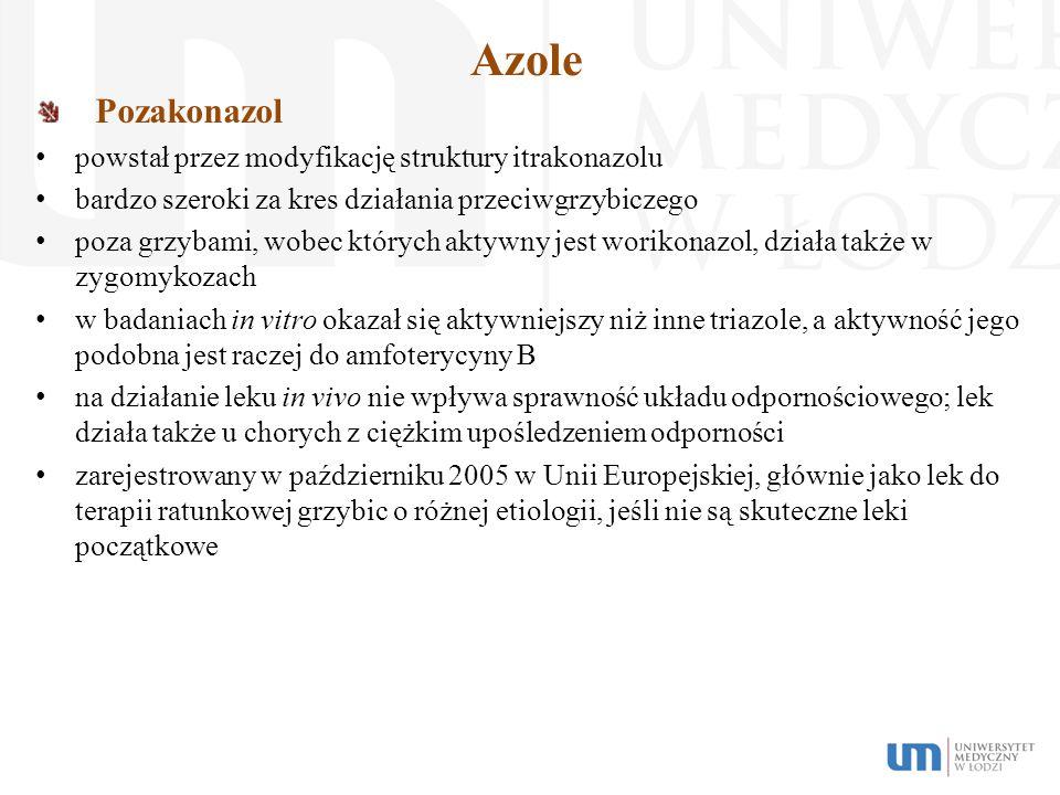 Azole Pozakonazol powstał przez modyfikację struktury itrakonazolu bardzo szeroki za kres działania przeciwgrzybiczego poza grzybami, wobec których ak