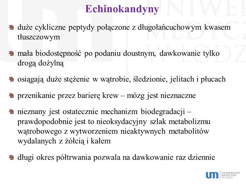 Echinokandyny duże cykliczne peptydy połączone z długołańcuchowym kwasem tłuszczowym mała biodostępność po podaniu doustnym, dawkowanie tylko drogą do