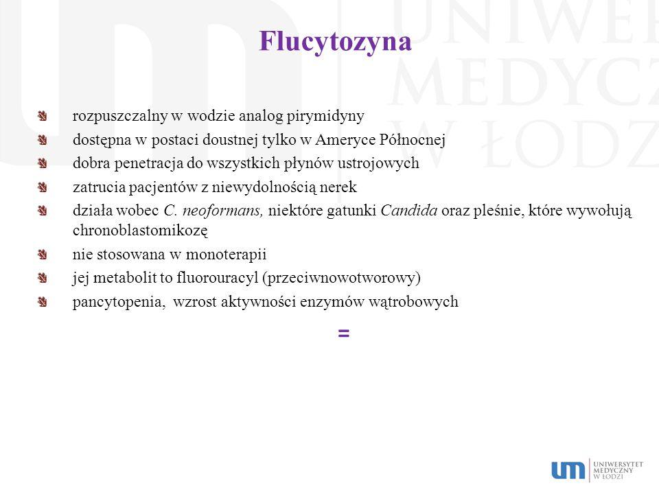 Flucytozyna rozpuszczalny w wodzie analog pirymidyny dostępna w postaci doustnej tylko w Ameryce Północnej dobra penetracja do wszystkich płynów ustro