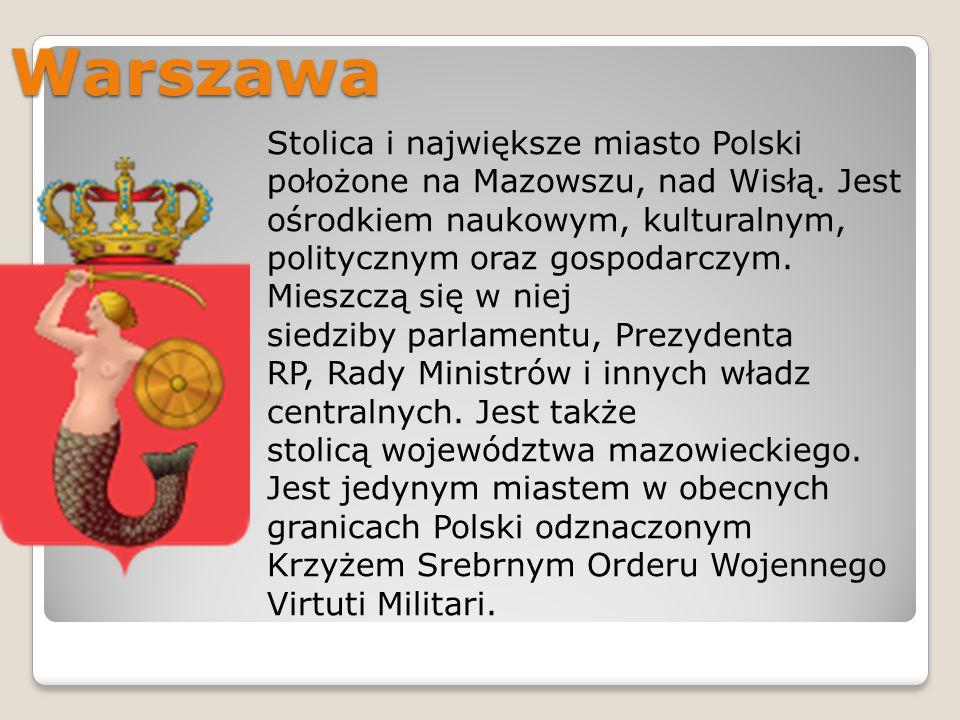 Warszawa Stolica i największe miasto Polski położone na Mazowszu, nad Wisłą. Jest ośrodkiem naukowym, kulturalnym, politycznym oraz gospodarczym. Mies