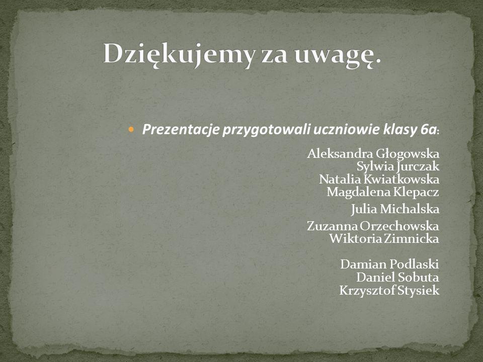 Prezentacje przygotowali uczniowie klasy 6a : Aleksandra Głogowska Sylwia Jurczak Natalia Kwiatkowska Magdalena Klepacz Julia Michalska Zuzanna Orzech