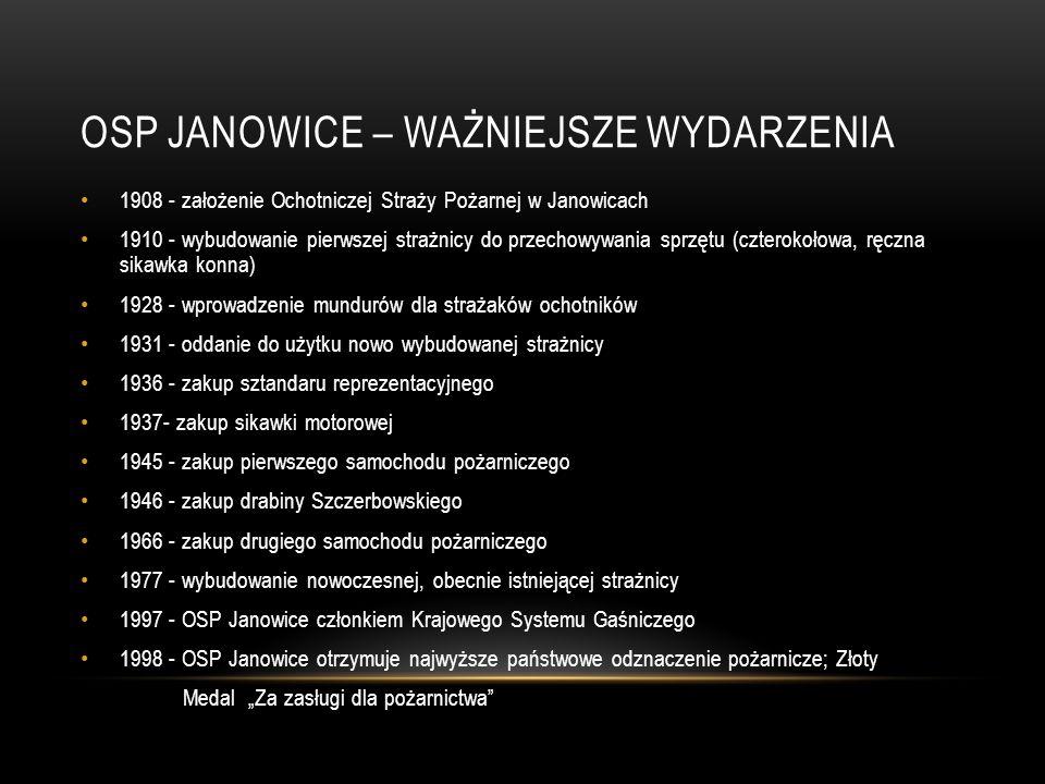 OSP JANOWICE – WAŻNIEJSZE WYDARZENIA 1908 - założenie Ochotniczej Straży Pożarnej w Janowicach 1910 - wybudowanie pierwszej strażnicy do przechowywani