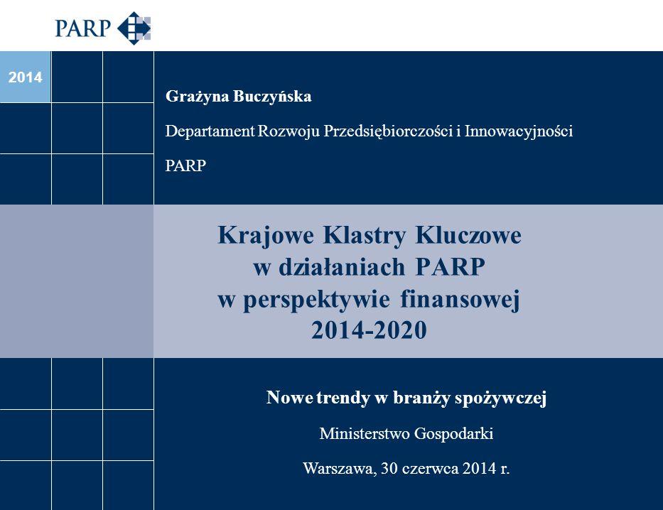 2014 Krajowe Klastry Kluczowe w działaniach PARP w perspektywie finansowej 2014-2020 Grażyna Buczyńska Departament Rozwoju Przedsiębiorczości i Innowa