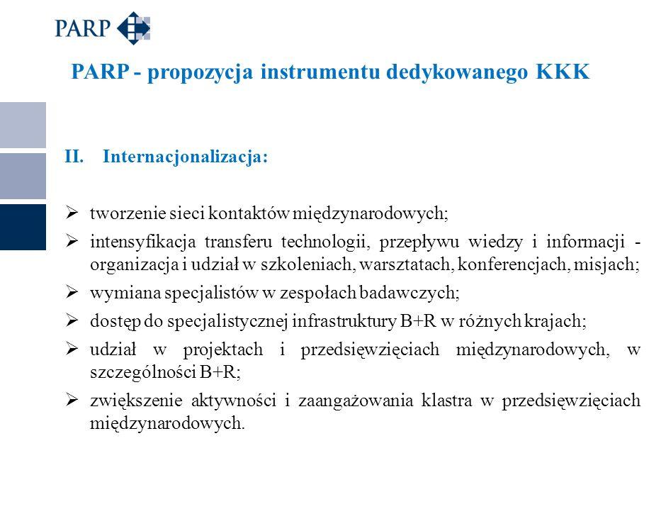 PARP - propozycja instrumentu dedykowanego KKK II.Internacjonalizacja:  tworzenie sieci kontaktów międzynarodowych;  intensyfikacja transferu techno