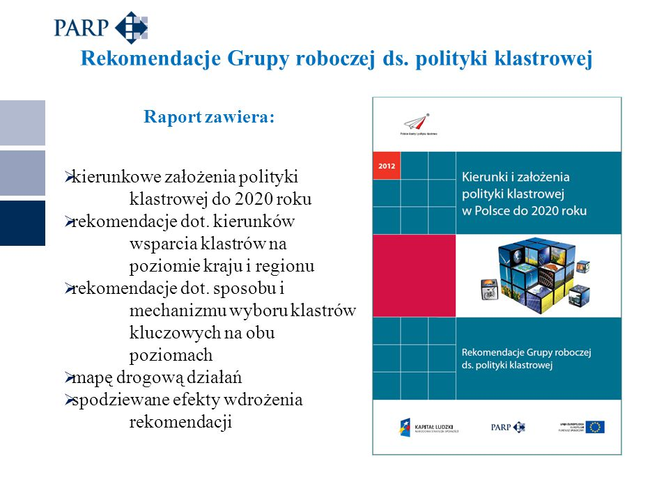 Rekomendacje Grupy roboczej ds. polityki klastrowej Raport zawiera:  kierunkowe założenia polityki klastrowej do 2020 roku  rekomendacje dot. kierun
