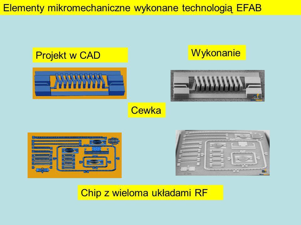 Projekt w CAD Wykonanie Cewka Chip z wieloma układami RF Elementy mikromechaniczne wykonane technologią EFAB
