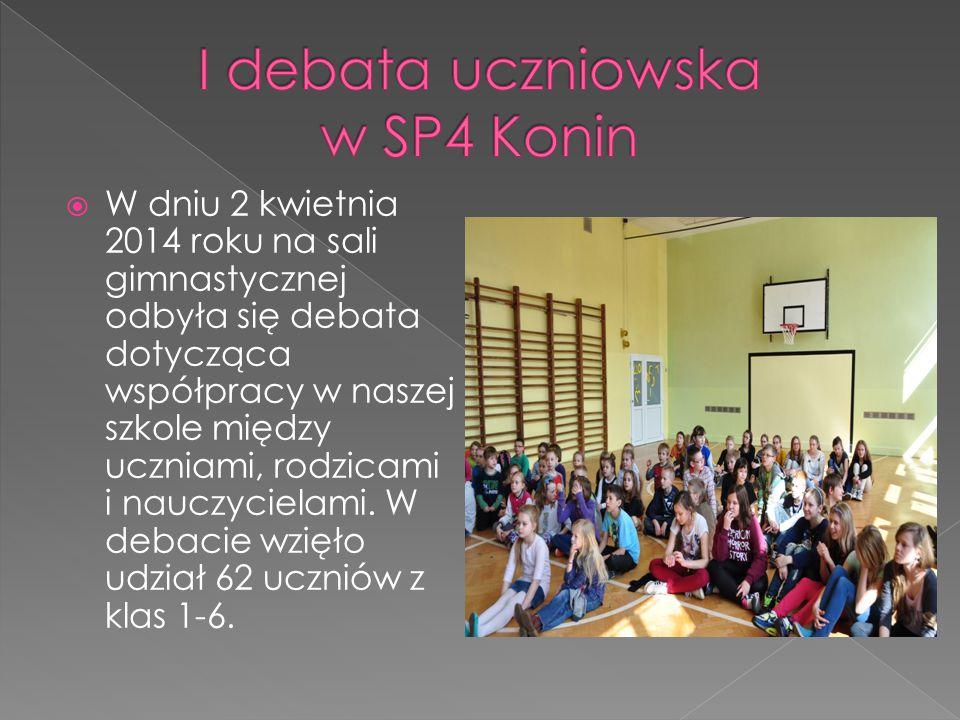  W dniu 2 kwietnia 2014 roku na sali gimnastycznej odbyła się debata dotycząca współpracy w naszej szkole między uczniami, rodzicami i nauczycielami.
