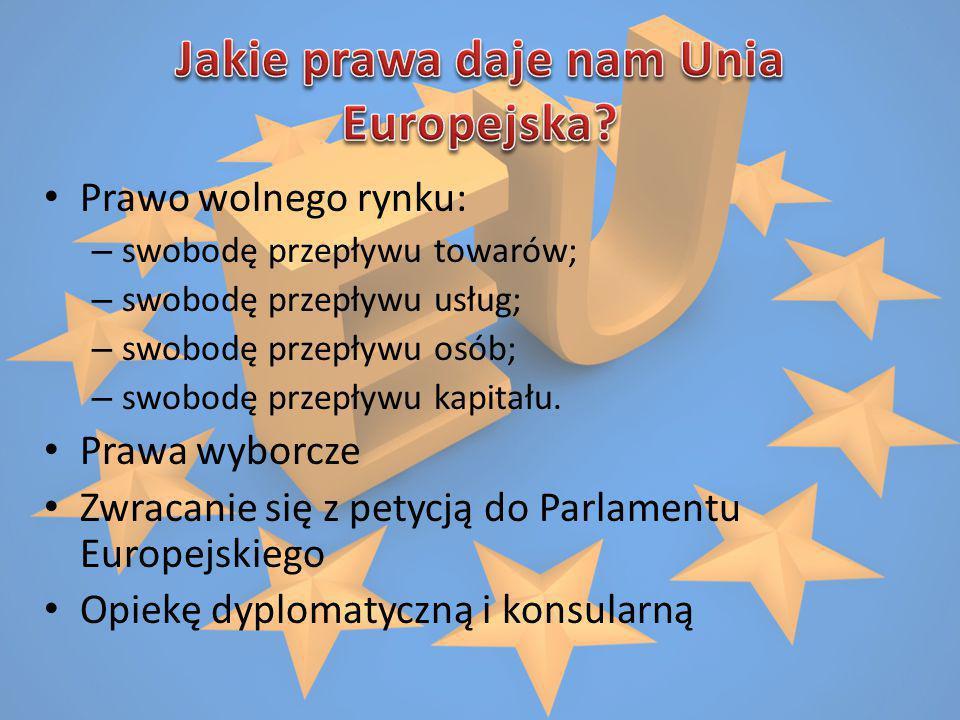 Prawo wolnego rynku: – swobodę przepływu towarów; – swobodę przepływu usług; – swobodę przepływu osób; – swobodę przepływu kapitału. Prawa wyborcze Zw