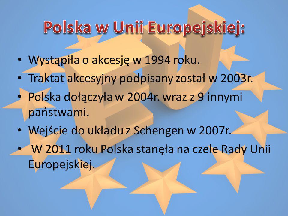 Wystąpiła o akcesję w 1994 roku. Traktat akcesyjny podpisany został w 2003r. Polska dołączyła w 2004r. wraz z 9 innymi państwami. Wejście do układu z