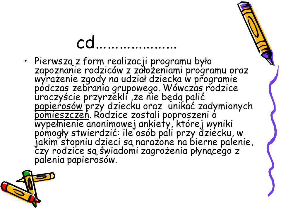cd………………… Pierwszą z form realizacji programu było zapoznanie rodziców z założeniami programu oraz wyrażenie zgody na udział dziecka w programie podczas zebrania grupowego.
