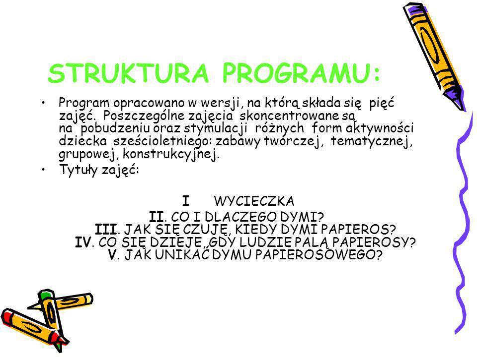 STRUKTURA PROGRAMU: Program opracowano w wersji, na którą składa się pięć zajęć. Poszczególne zajęcia skoncentrowane są na pobudzeniu oraz stymulacji
