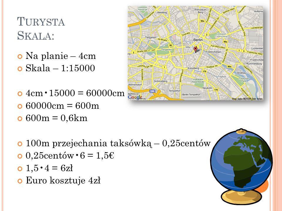T URYSTA S KALA : Na planie – 4cm Skala – 1:15000 4cm15000 = 60000cm 60000cm = 600m 600m = 0,6km 100m przejechania taksówką – 0,25centów 0,25centów6 =