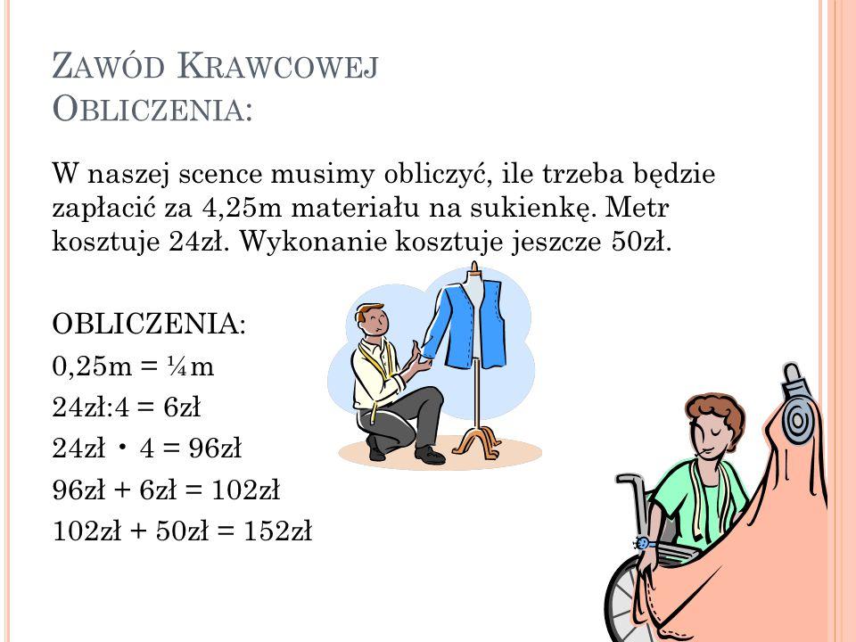 Z AWÓD K RAWCOWEJ O BLICZENIA : W naszej scence musimy obliczyć, ile trzeba będzie zapłacić za 4,25m materiału na sukienkę. Metr kosztuje 24zł. Wykona