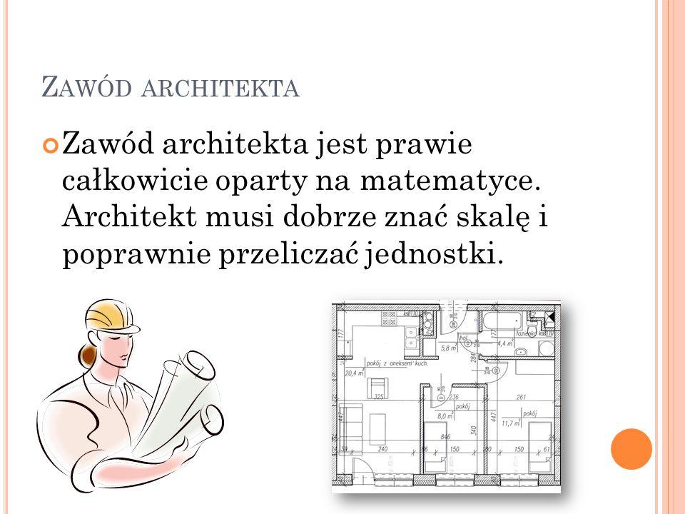 Z AWÓD ARCHITEKTA Zawód architekta jest prawie całkowicie oparty na matematyce. Architekt musi dobrze znać skalę i poprawnie przeliczać jednostki.