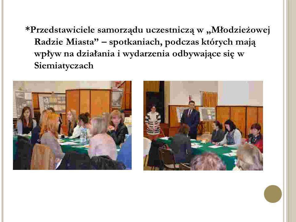 """*Przedstawiciele samorządu uczestniczą w """"Młodzieżowej Radzie Miasta"""" – spotkaniach, podczas których mają wpływ na działania i wydarzenia odbywające s"""