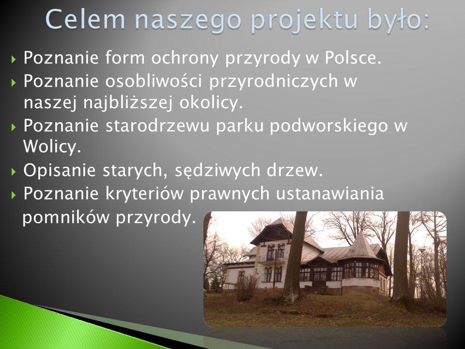  Poznanie form ochrony przyrody w Polsce.  Poznanie osobliwości przyrodniczych w naszej najbliższej okolicy.  Poznanie starodrzewu parku podworskie