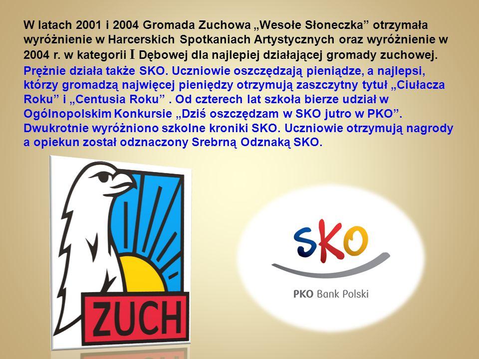 """W latach 2001 i 2004 Gromada Zuchowa """"Wesołe Słoneczka"""" otrzymała wyróżnienie w Harcerskich Spotkaniach Artystycznych oraz wyróżnienie w 2004 r. w kat"""