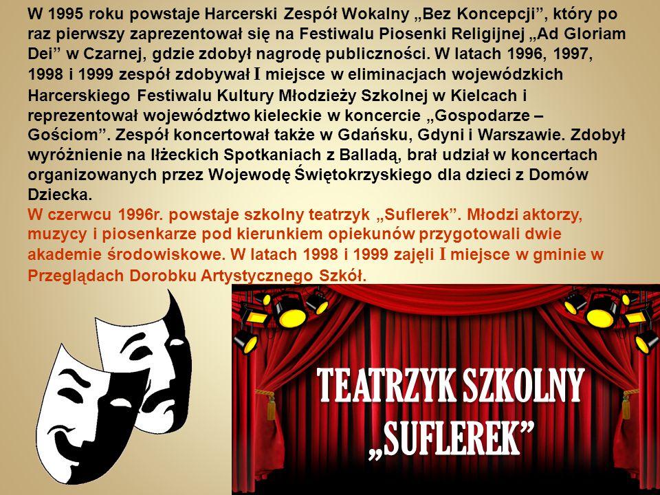 """TEATRZYK SZKOLNY """"SUFLEREK"""" W 1995 roku powstaje Harcerski Zespół Wokalny """"Bez Koncepcji"""", który po raz pierwszy zaprezentował się na Festiwalu Piosen"""