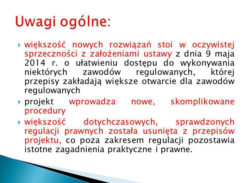  większość nowych rozwiązań stoi w oczywistej sprzeczności z założeniami ustawy z dnia 9 maja 2014 r. o ułatwieniu dostępu do wykonywania niektórych