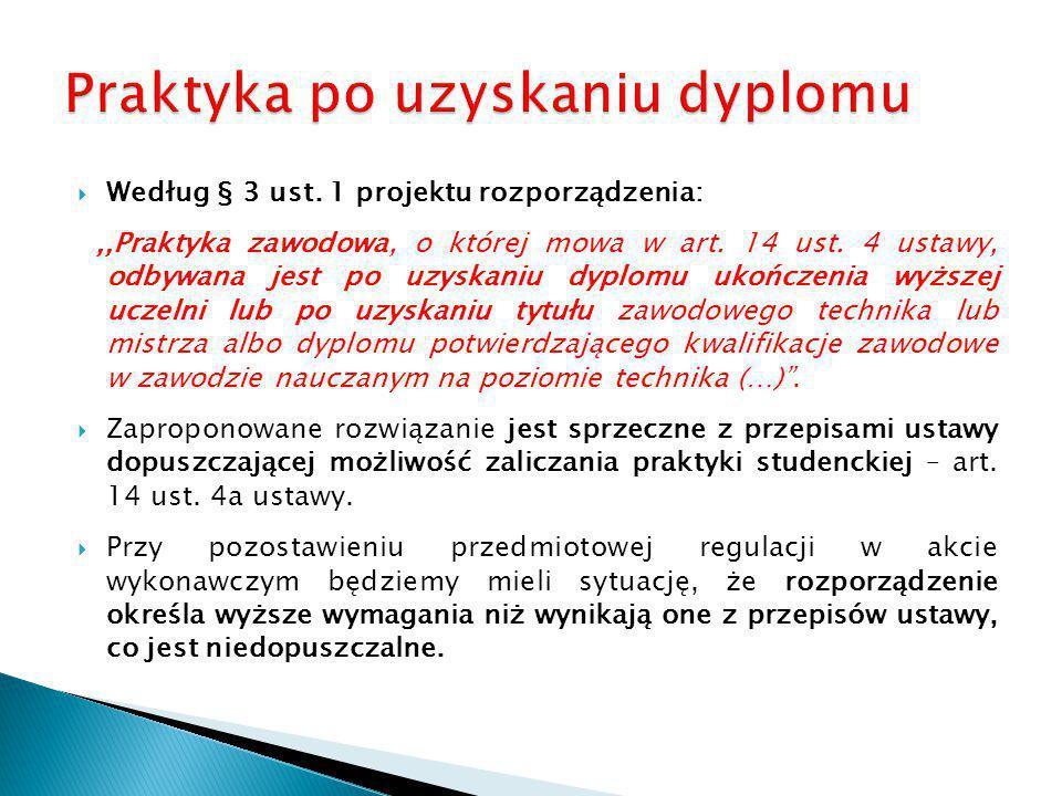  Według § 3 ust. 1 projektu rozporządzenia:,,Praktyka zawodowa, o której mowa w art. 14 ust. 4 ustawy, odbywana jest po uzyskaniu dyplomu ukończenia