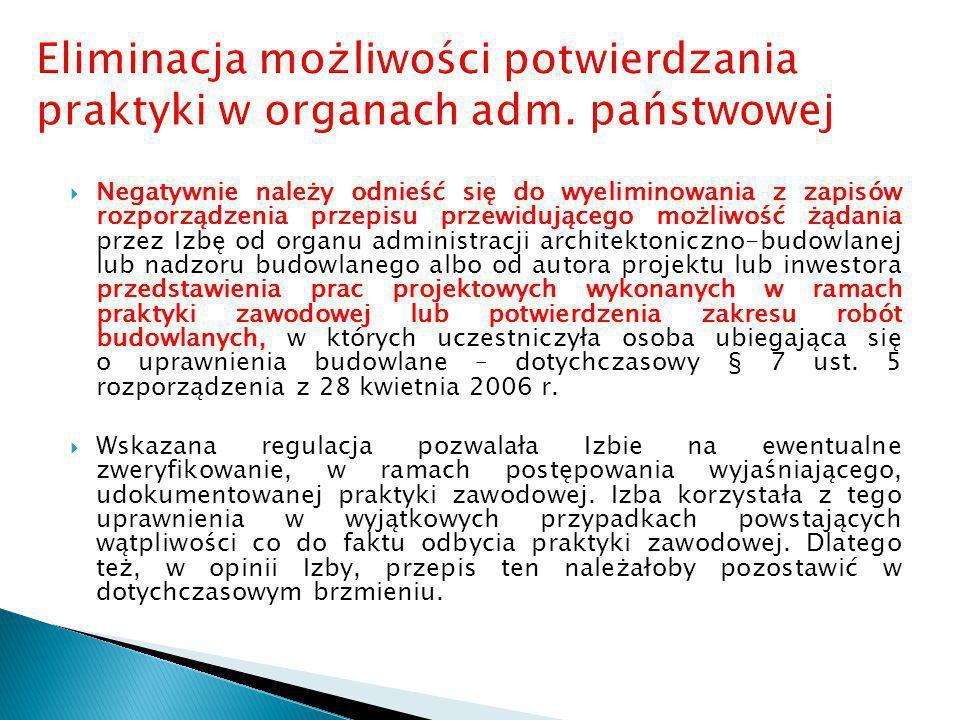  Negatywnie należy odnieść się do wyeliminowania z zapisów rozporządzenia przepisu przewidującego możliwość żądania przez Izbę od organu administracj