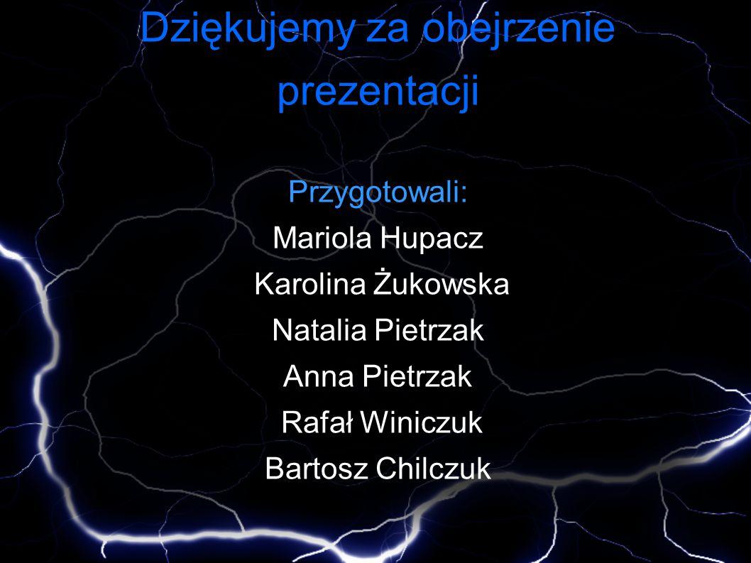 Dziękujemy za obejrzenie prezentacji Przygotowali: Mariola Hupacz Karolina Żukowska Natalia Pietrzak Anna Pietrzak Rafał Winiczuk Bartosz Chilczuk