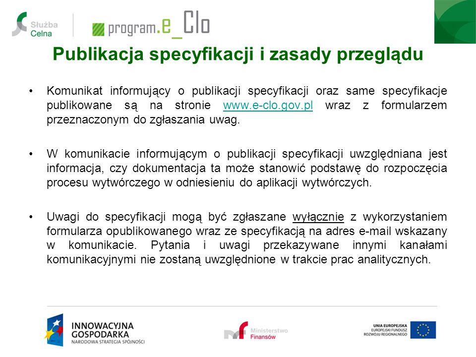 Publikacja specyfikacji i zasady przeglądu Komunikat informujący o publikacji specyfikacji oraz same specyfikacje publikowane są na stronie www.e-clo.
