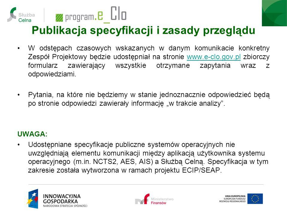 Publikacja specyfikacji i zasady przeglądu W odstępach czasowych wskazanych w danym komunikacie konkretny Zespół Projektowy będzie udostępniał na stro