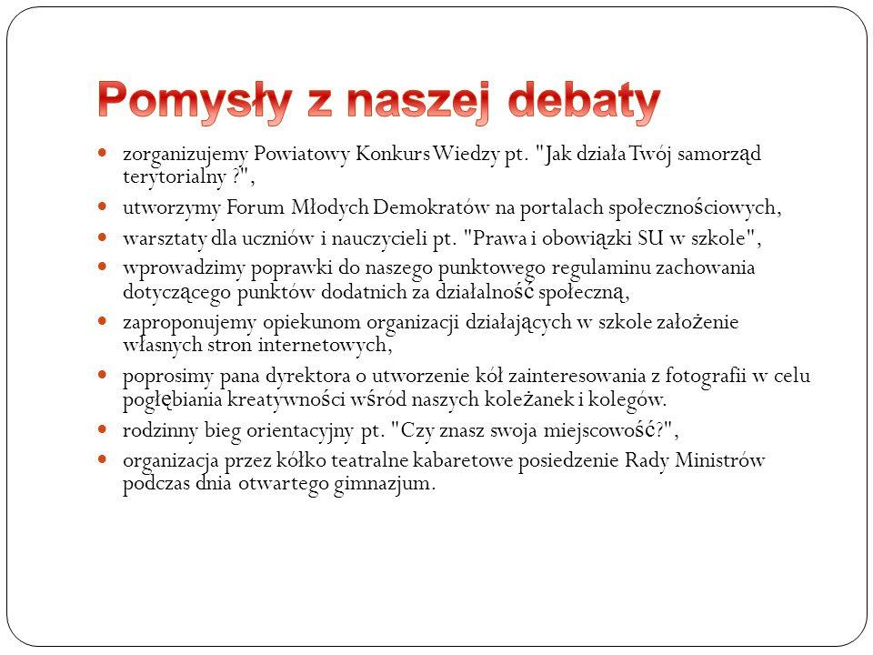 zorganizujemy Powiatowy Konkurs Wiedzy pt.