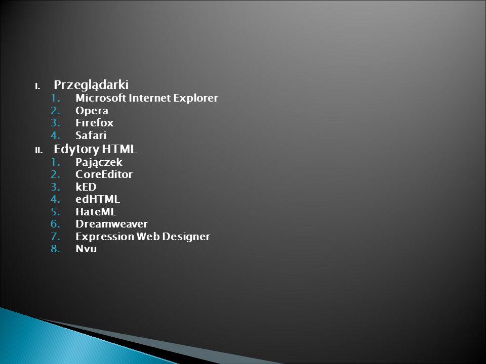 I. Przeglądarki 1.Microsoft Internet Explorer 2.Opera 3.Firefox 4.Safari II.