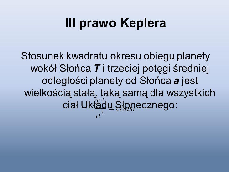 III prawo Keplera Stosunek kwadratu okresu obiegu planety wokół Słońca T i trzeciej potęgi średniej odległości planety od Słońca a jest wielkością sta