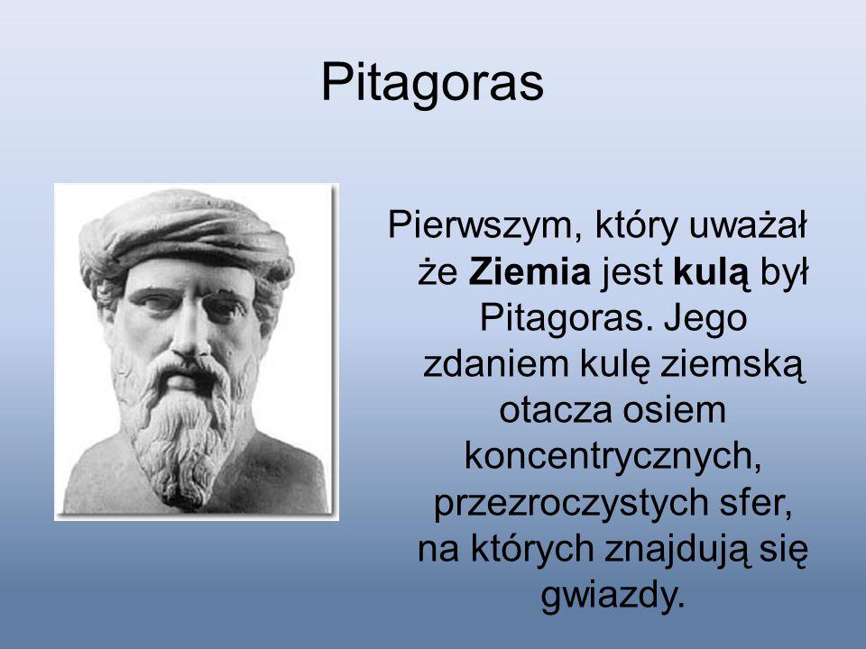Pitagoras Pierwszym, który uważał że Ziemia jest kulą był Pitagoras. Jego zdaniem kulę ziemską otacza osiem koncentrycznych, przezroczystych sfer, na