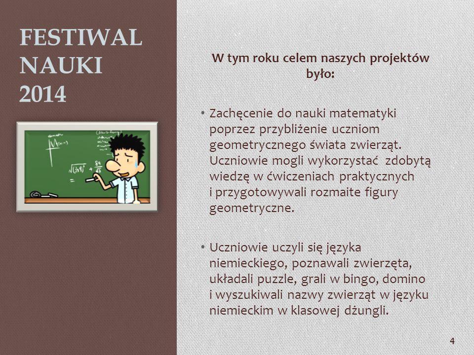 3 FESTIWAL NAUKI ma na celu: Organizowany jest od trzech lat i został ujęty w Kalendarium Imprez organizowanych przez Publiczne Gimnazjum Nr 1 im. Józ