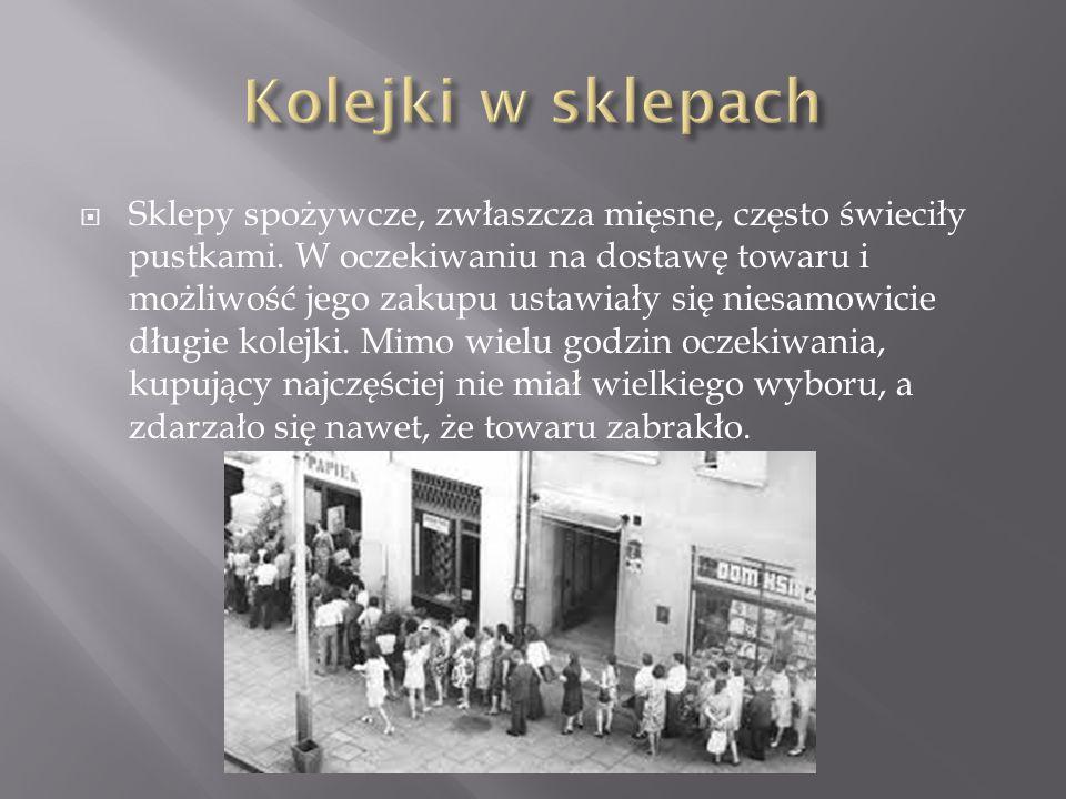  Przez lata w powojennej Polsce wiele artykułów (żywność, buty, papierosy czy alkohol) było reglamentowanych, czyli można je było nabyć wyłącznie za okazaniem specjalnych kartek.