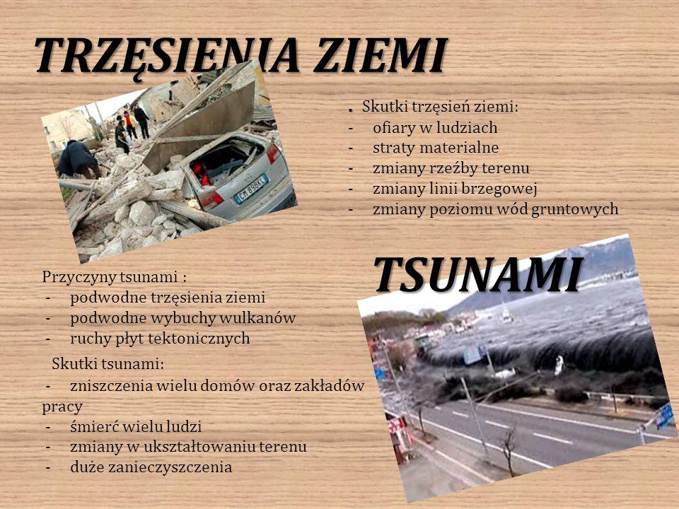 TRZĘSIENIA ZIEMI TSUNAMI Przyczyny tsunami : - podwodne trzęsienia ziemi - podwodne wybuchy wulkanów - ruchy płyt tektonicznych Skutki tsunami: - znis