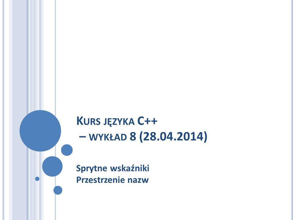 K URS JĘZYKA C++ – WYKŁAD 8 (28.04.2014) Sprytne wskaźniki Przestrzenie nazw