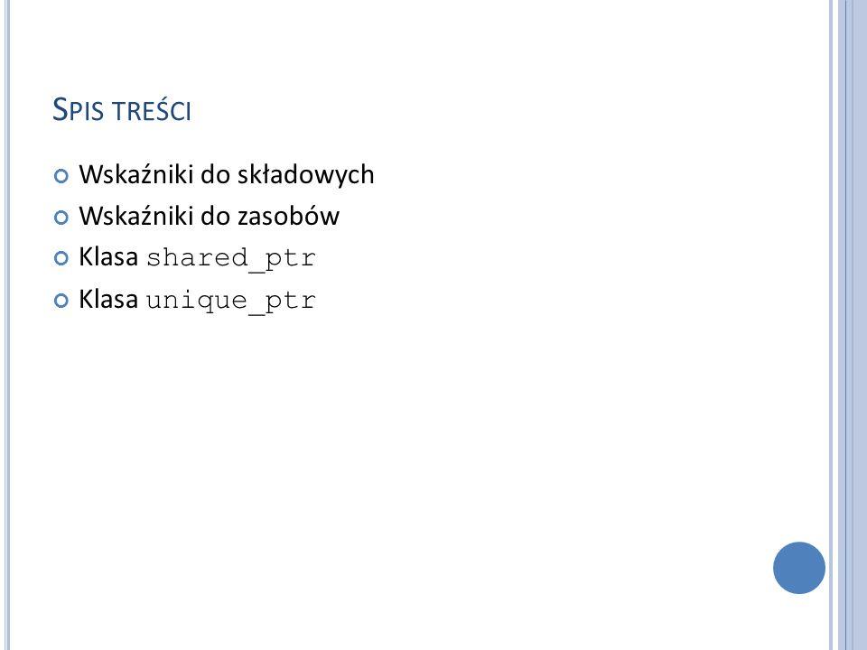 K OMPONOWANIE I WYBÓR Gdy chcemy utworzyć interfejs i dołożyć do niego kilka nazw z innych interfejsów to stosujemy wybór za pomocą deklaracji użycia, na przykład: namespace My_string { using His_string::String; using His_string::operator+; // … } Deklaracja użycia wprowadza do zasięgu każdą deklarację o podanej nazwie.
