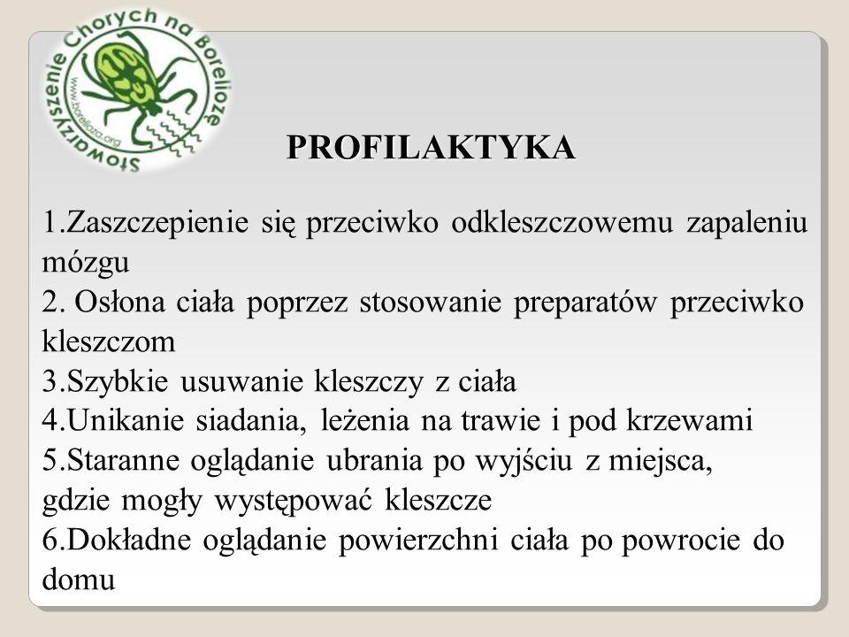 PROFILAKTYKA 1.Zaszczepienie się przeciwko odkleszczowemu zapaleniu mózgu 2.