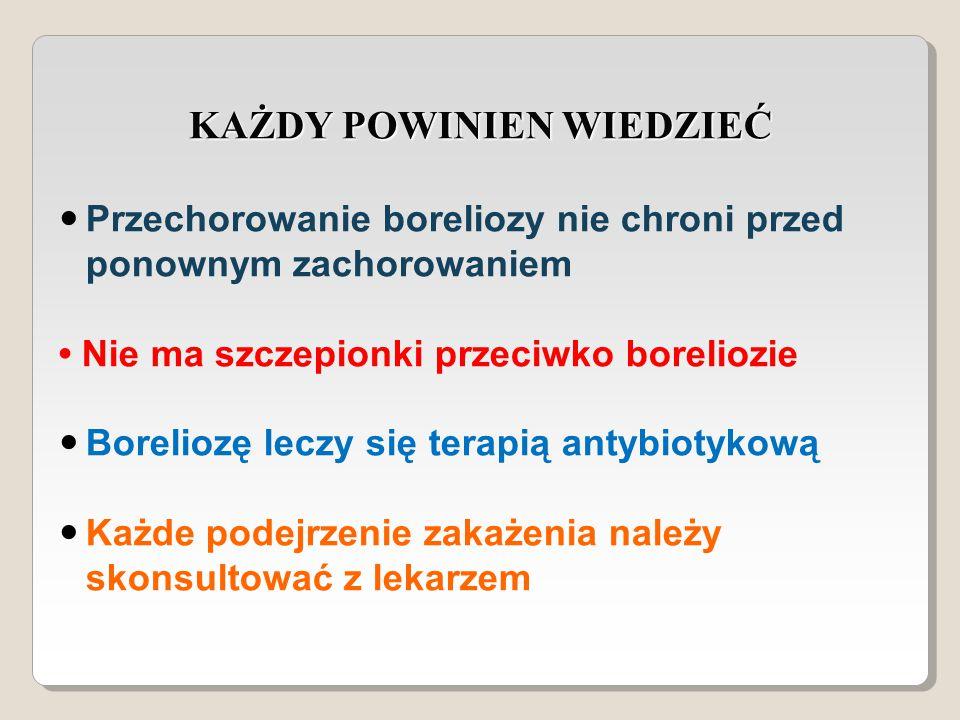 KAŻDY POWINIEN WIEDZIEĆ Przechorowanie boreliozy nie chroni przed ponownym zachorowaniem Nie ma szczepionki przeciwko boreliozie Boreliozę leczy się terapią antybiotykową Każde podejrzenie zakażenia należy skonsultować z lekarzem