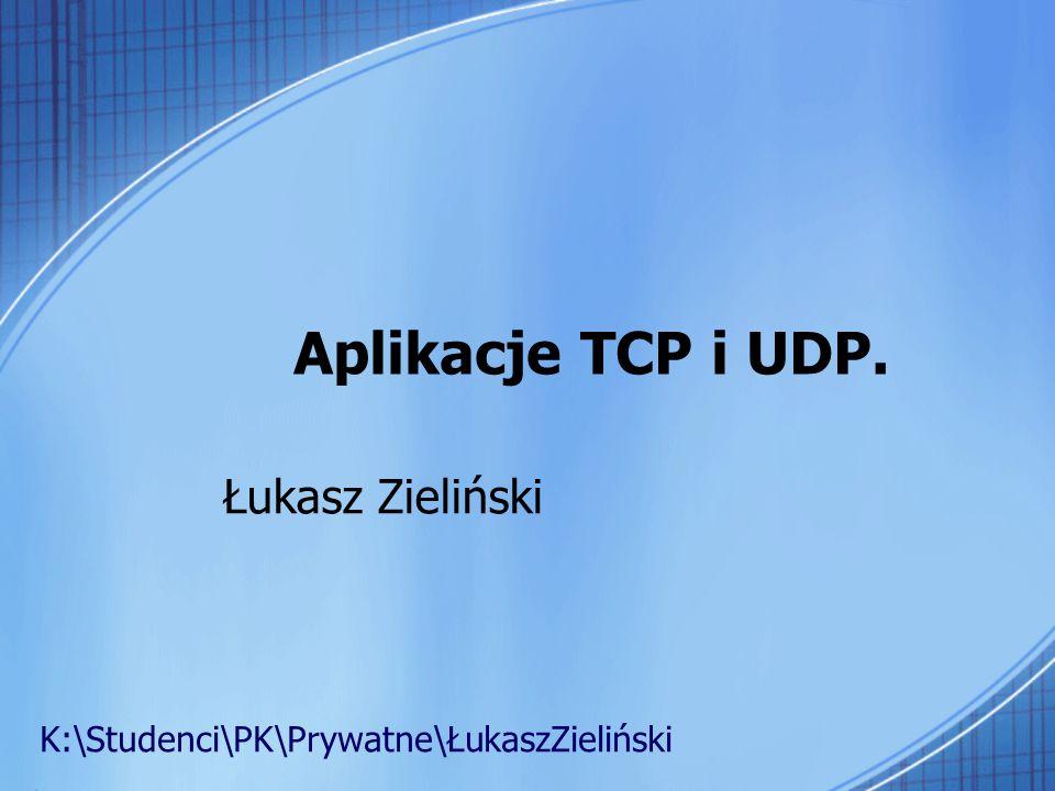 Aplikacje TCP i UDP. Łukasz Zieliński K:\Studenci\PK\Prywatne\ŁukaszZieliński