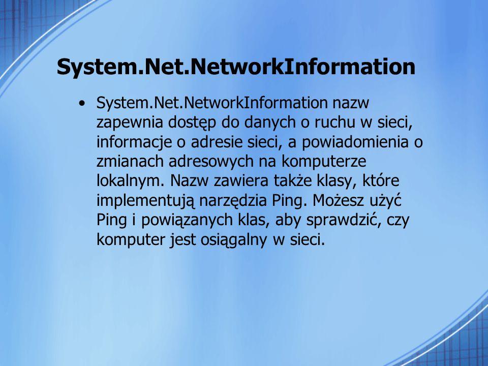System.Net.NetworkInformation System.Net.NetworkInformation nazw zapewnia dostęp do danych o ruchu w sieci, informacje o adresie sieci, a powiadomieni