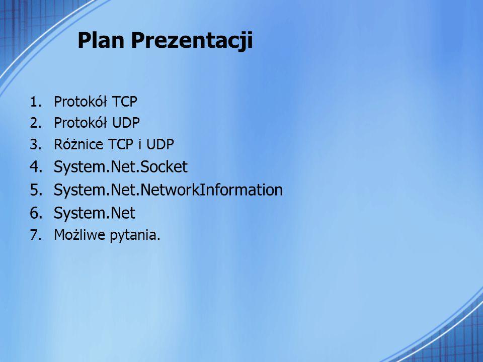 Transmission Control Protocol (TCP) Transmission Control Protocol (TCP) – połączeniowy, niezawodny, strumieniowy protokół komunikacyjny wykorzystywany do przesyłania danych pomiędzy procesami uruchomionymi na różnych maszynach, korzysta z usług protokołu IP do wysyłania i odbierania danych oraz ich fragmentacji Protokół TCP operuje w warstwie transportowej modelu OSI.