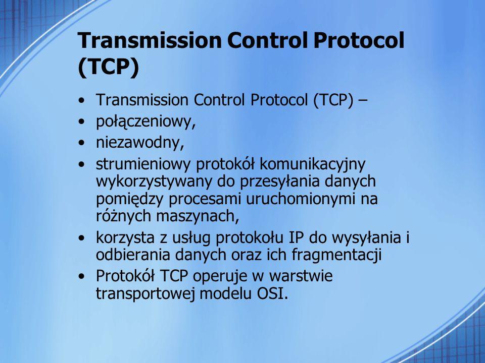 Transmission Control Protocol (TCP) Transmission Control Protocol (TCP) – połączeniowy, niezawodny, strumieniowy protokół komunikacyjny wykorzystywany