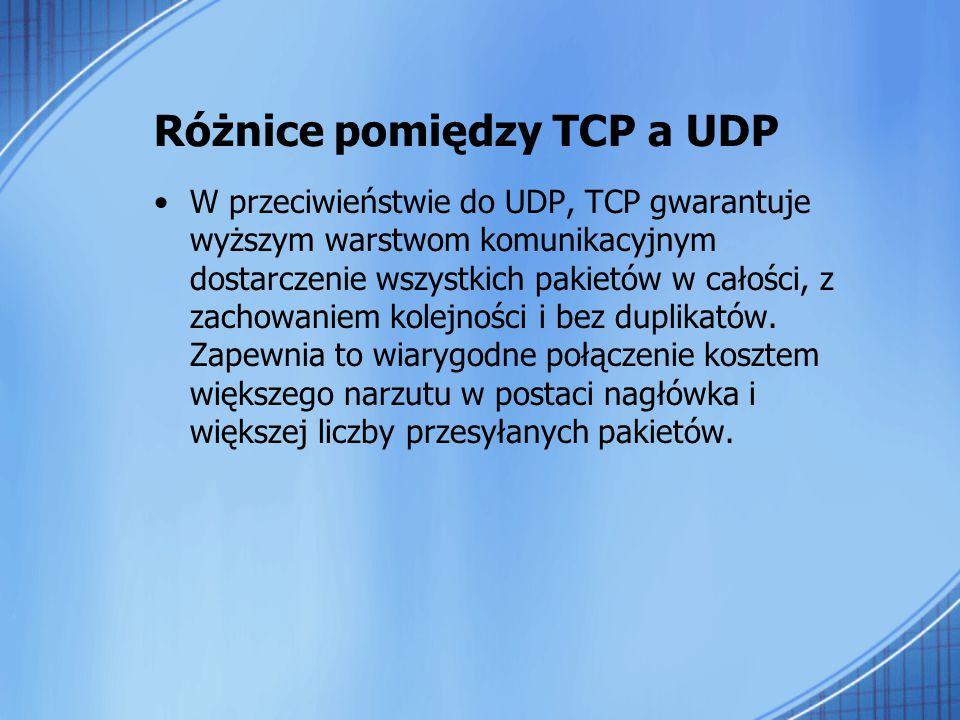 Różnice pomiędzy TCP a UDP W przeciwieństwie do UDP, TCP gwarantuje wyższym warstwom komunikacyjnym dostarczenie wszystkich pakietów w całości, z zach
